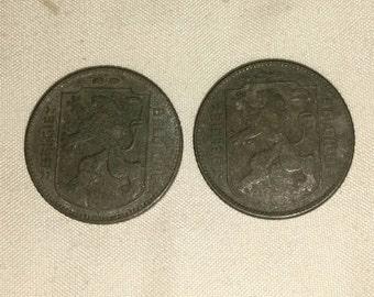 Two Belgium 1944 1 Franc WWII German Occupation Coin KM#128 Europe Belgie Belgique Legends (Valued at 100.00)