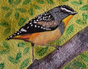 Hand painted bird wallhanging.  Thread painted wallhanging.  Bird Art Quilt.  Fibre Art Quilt.