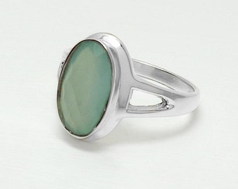 925 Sterling Silver Aqua Chalcedony Ring Size 6