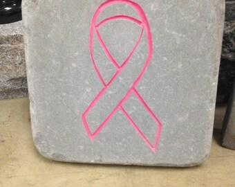 Breast Cancer Pink Ribbon Garden Stone, survivor, mom