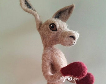 Boxing Hare - needle-felted 3D wool sculpture