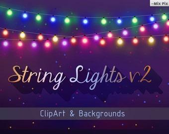 String Lights Clipart, Party Light, string lights clipart, christmas lights, new year lights, clipart lights