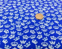 Blue Crown Fabric | Cotton Crown Fabric | Royal Fabric | Royal Blue Fabric | Quilting Fabric | EN71-3 certified