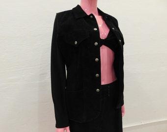 Vintage 80's Button Down Black Suede Vest - Size Medium