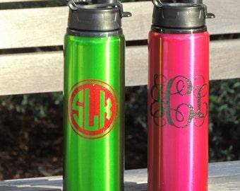 personalized water bottles, aluminum water bottle, monogrammed bottle, coach gift, stocking stuffer, summer water bottle, metal water bottle