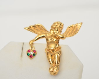 Gold Tone Cupid Angle Rhinestone heart Brooch Pin