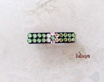 Green Emerald Crystal Rhinestone Hair Pin Clip Flower