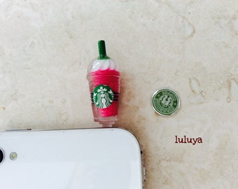 Starbucks Strawberry Pink Frappuccino Coffee Dust Plug Phone Charm Earphone Cap Cellphone and Home Button Iphone