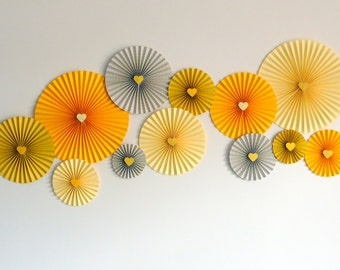 Backdrop Paper Rosettes - Yellow Tones