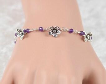 Amethyst & Sterling Silver Bracelet. Wire Wrapped Flower Charm Bracelet. Dainty Beaded Gemstone Bracelet. Karen Hill Tribe Silver Bracelet