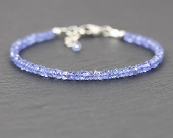 Tanzanite Beaded Bracelet in Sterling Silver or Gold Filled. Dainty Stacking Bracelet. Delicate Gemstone Jewellery. Bead Jewelry