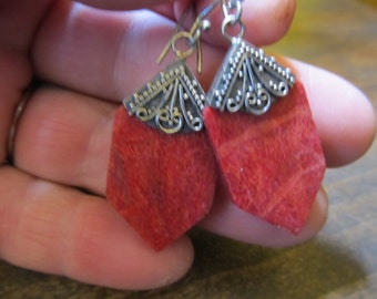 Vintage Silver and Natural Stone Geometric Dangle Earrings Pierced