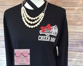 Monogram Cheer Mom Shirt. Megaphone with Glitter Bow. Chevron Monogram Cheer Mom Shirt. Cheerleader. Squad. Long Sleeve Shirt. Monogram Gift