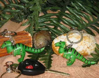 A pair of genuine leather Bag-charms/Key-Chain (2 of them), Dinosaur T-Rex pattern, Green.