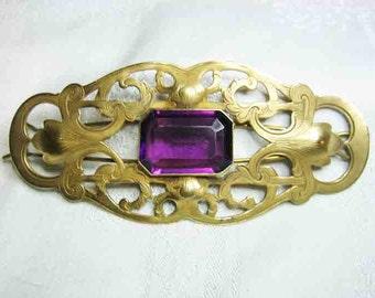 """Antique Art Nouveau Hair Barrette Large Amethyst Glass Stone 4 & 1/2"""""""