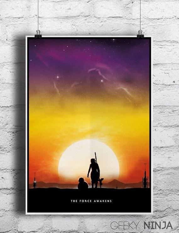 Star Wars - The Force Awakens Inspired Rey & BB-8 Minimalist Movie Poster Print - star wars wall art