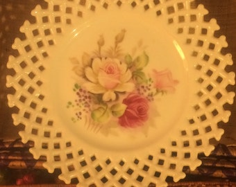 Flowered Plate with Wicker Border