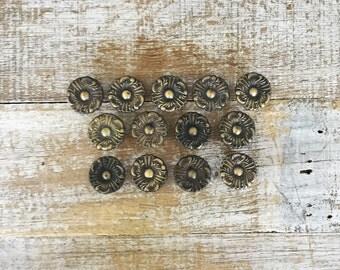 Drawer Knobs 13 Drawer Pulls Brass Flower Knobs Cottage Chic Hardware Antique Hardware Dresser Drawer Pulls Cabinet Knobs Mid Century