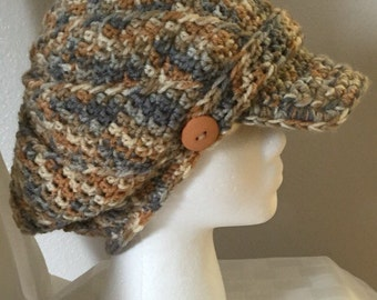 Ready To Ship - Handmade Crocheted Slouchy Newsboy Hat