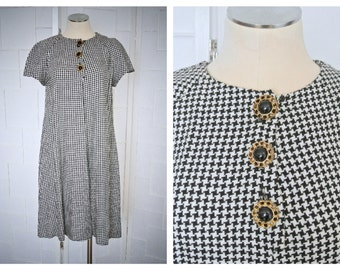 Vintage 1980's Black and White Herringbone Swing Trapeze Dress