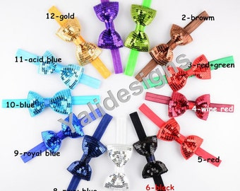 U Pick 8cm( 3.1'' inch) Shinny Bowknot Headbands Sequin Bow Headband  Ribbon Bow Headbands-YTK26