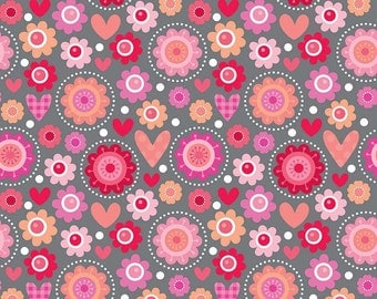 Lovebug friends Valentine fabric by Riley Blake Designs Lovebug Collection by Doodlebug designs pink heart and flower print fabric