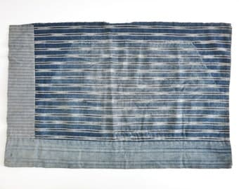 Antique Boro Patchwork. Striped Aizome ( Indigo dyed ) . Japanese Antique Fabric. Cotton. Small Mat. Reversible. 08094