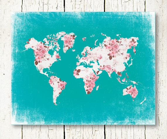 World map pink and turquoise nursery girls room decor floral world map pink and turquoise nursery girls room decor floral shabby chic gift for her baby girl nursery printable world map download sciox Images