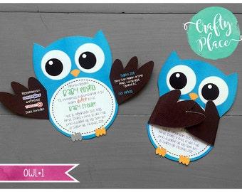 "Sample - Owl silhouette die cut baby shower invitation - 9x6"" - custom made"