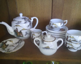 Japanese tea service original 50s for 6 persons 24 items in very good condition