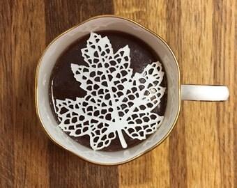 "12 Sugar Doilies 2.5"" Edible Maple Leaf - Tea or Coffee Doilies Wedding Reception Bridal Party Decoration Christmas Stocking Stuffer"