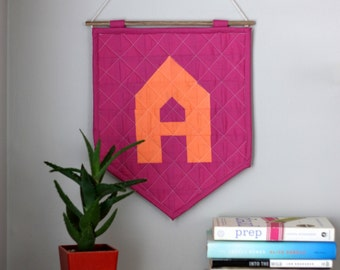 The Quilted Wall Hanging - Fuchsia + Coral - Personalize Your Letter or Symbol
