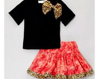 Boutique Carolina Kids  Coral Rose Cheetah Twirl Skirt Set