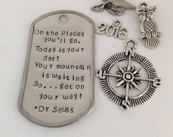 Hand Stamped Keychain - Graduation - Oh the Places You'll Go Graduation Keychain - Graduation charms - Gift