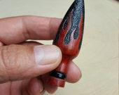 "Hand Turned/Carved ""Red Flamed Lamp"" Pipe Tamper [Walnut]"