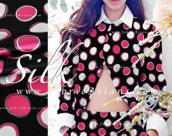 Fuchsia Polka Dot Black Silk Fabric