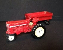 Take 25% Off Sale Vintage ERTC Company Cast Red Metal International Farm Tractor & Hitched Grain Trailer Featuring Working Steering Column A