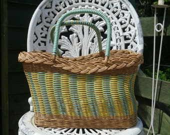 Wicker and Plastic Basket