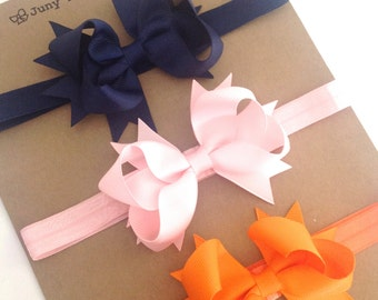 Set 6  Headband  two Layers of Ribbon and Spikes 3.5 inch Boutique Bow