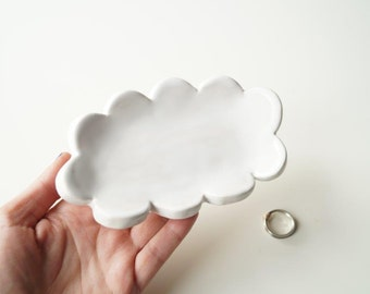 Cloud Shaped Plate, Wedding Ring Plate, Ring Holder, Wedding Ring Pillow, Jewelry Holder, Cloud Plate, Ceramics and Pottery
