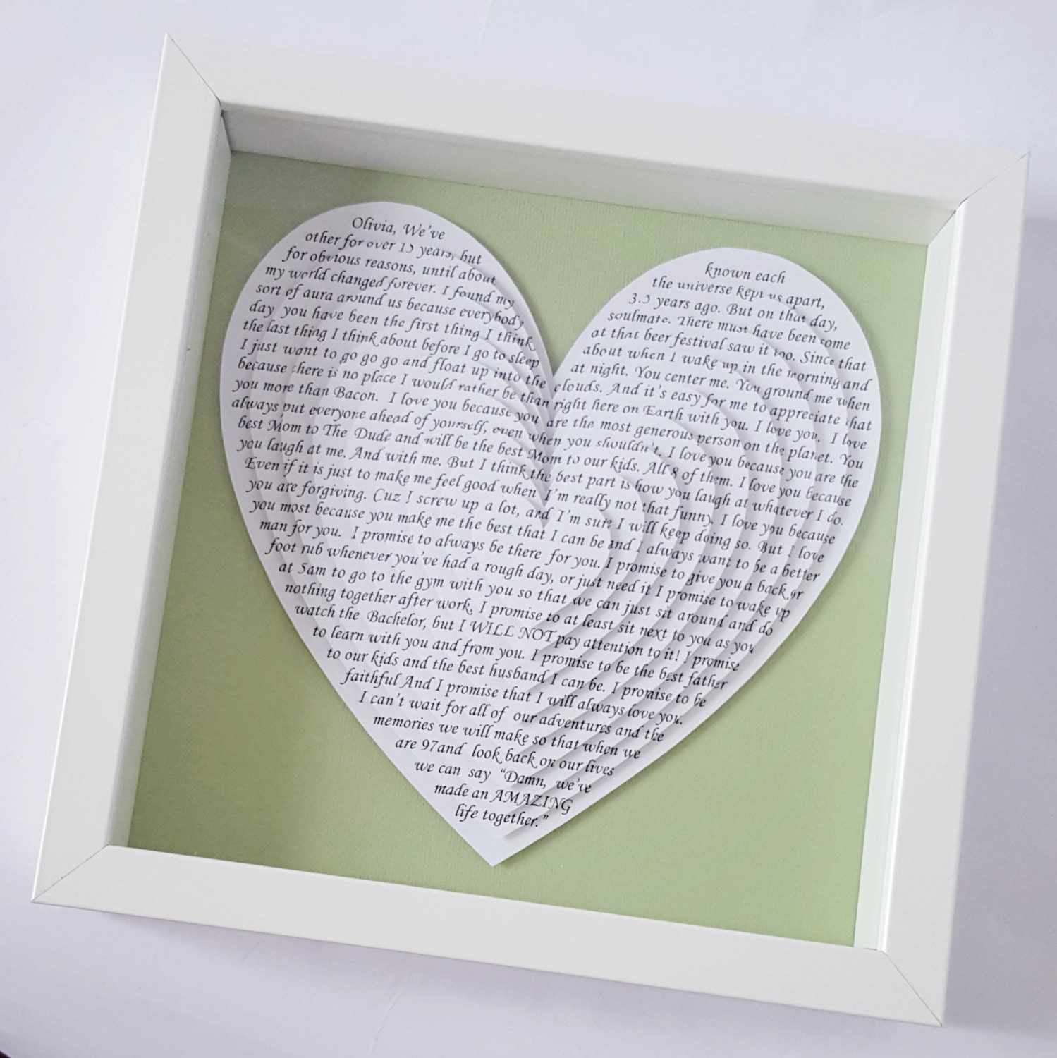 Song lyric gift, wedding vows, anniversary gift, 3D layered heart ...