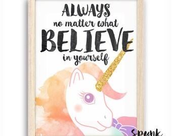 Unicorn Believe Yourself Print Nursery Kids Baby Playroom