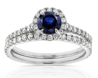 Sapphire and Diamond Round Halo Style Engagement Wedding Set 1 CTW in 14k White Gold