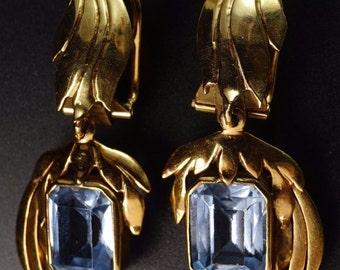 18K Yellow Gold Aqua-Color Blue Topaz Vintage Retro Foliage Long Dangle Earrings