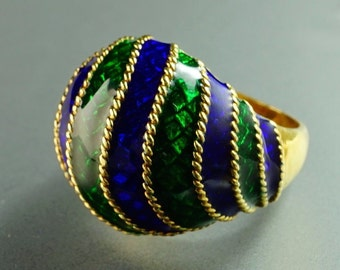 Huge 18K Yellow Gold Emerald Green & Cobalt Blue Enamel Twisted Cable Domed Ring