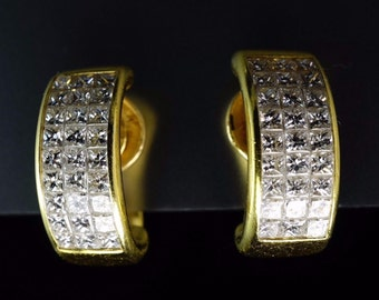 Christopher Designs 18K Yellow Gold Invisibly Set Princess Cut Diamond Earrings