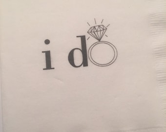 "Set of 25 ""i do"" Ring Wedding Bridal Shower Napkins"