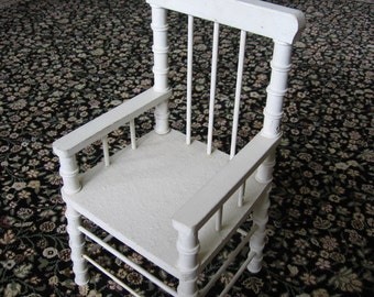Vintage Doll Spool Chair White Wooden Toy Chair - 1960's