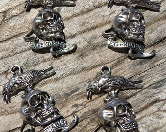 VOLUME DISCOUNTS!  Expendables Pendant Charm | Antique Silver Skull Tibetan Charm | Choose Your Quantity