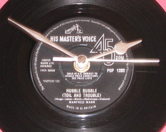 "Manfred Mann hubble bubble toil and trouble   7"" vinyl record clock"